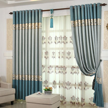 Blue Chenille Fabric Great and Contemporary Panel Curtains