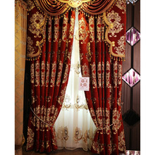 2015 New Style Curtains in Red Chenille Material in Luxury Way