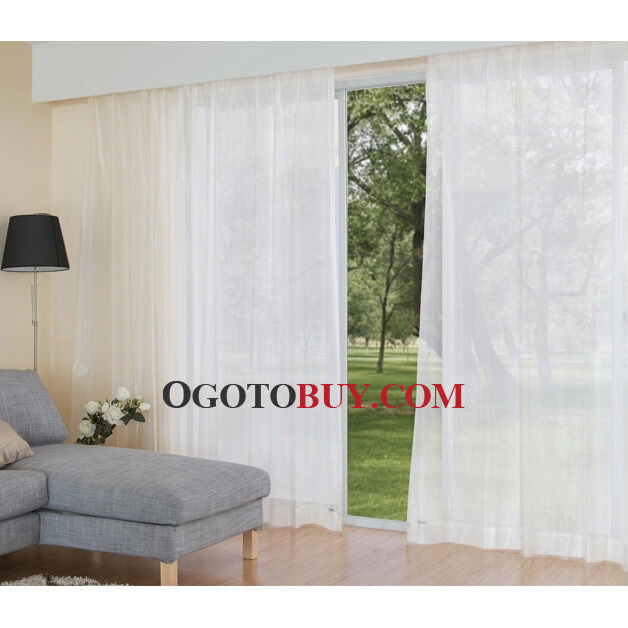 Simple White Cotton and Polyester Sheer Curtains, Buy White Sheer ...