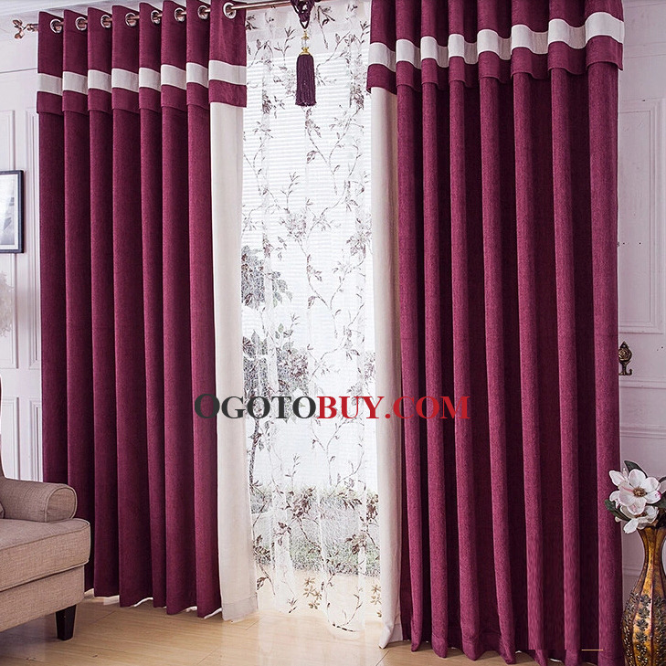 Chenille Energy Saving Purple Curtains for Bedrooms , Buy Purple ...