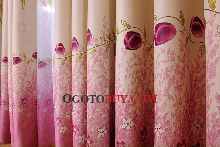 Cheap Bedroom Curtains in Pink Color with Floral Patterns, Buy ...