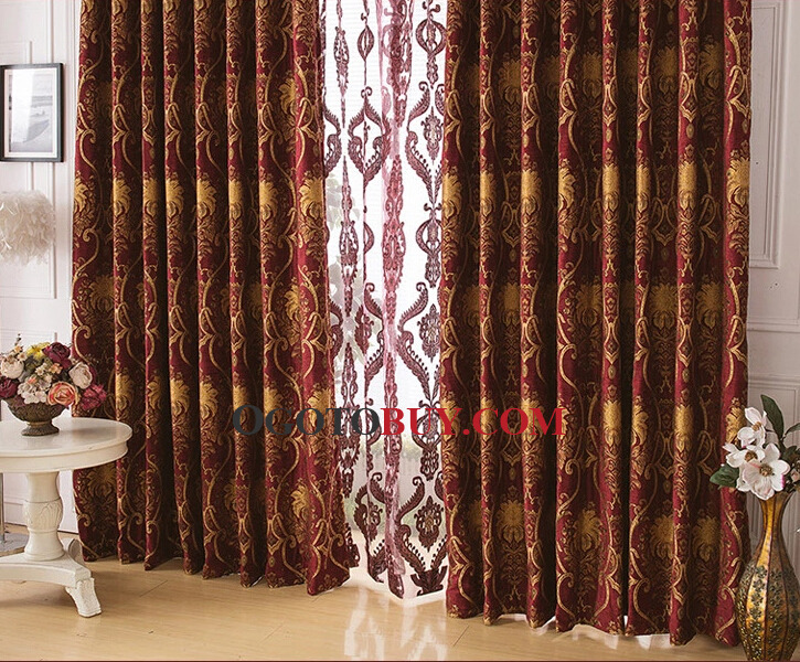 chenille good quality red bedroom curtains with jacquard style, Bedroom decor