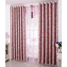 Country Window Curtains of Pink and Purple Leaf for Your Home
