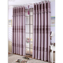 Pictures Of Living Room Curtains in Purple Color with Striped Lines