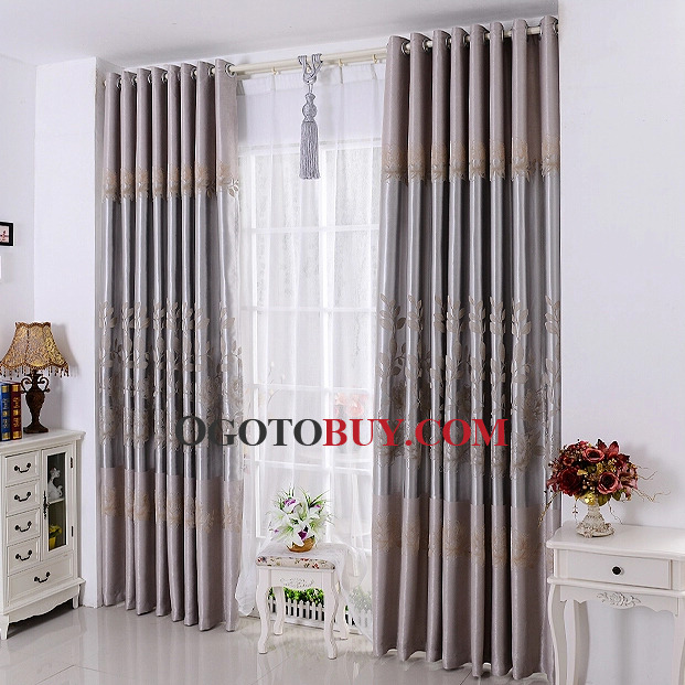 Black Curtains black curtains cheap : Floral and Leaf Design Windows or Door Curtains Online, Buy Grey ...