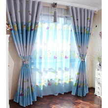 Blue Energy Saving Children Room Curtains of Polyester