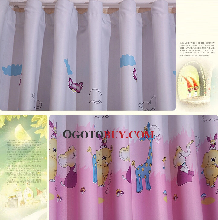 Different Style Of Curtains in Pink with Cartoon Animal Patterns