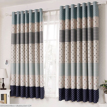 Blue Striped and Polka Dots Kids Designer Curtains Online