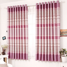 Lines and Rose Pattern Purple Color Cheap Pretty Curtains