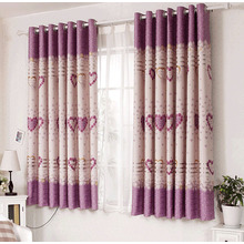 Heart Pattern Printed Bay Window Curtains Ideas in Short