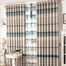 Favorable Eco-friendly Linen Striped Thermal Curtains