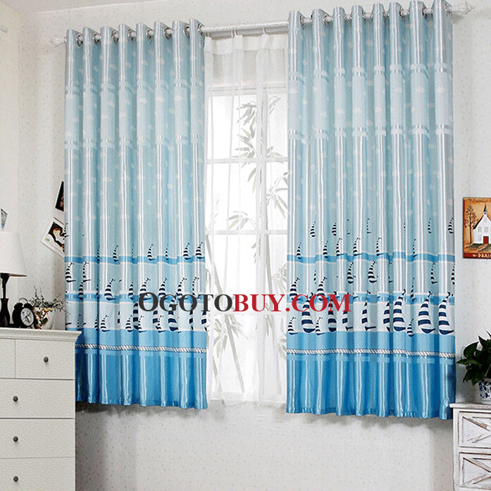 blended fabric curtains of sailboat pattern in blue color , buy