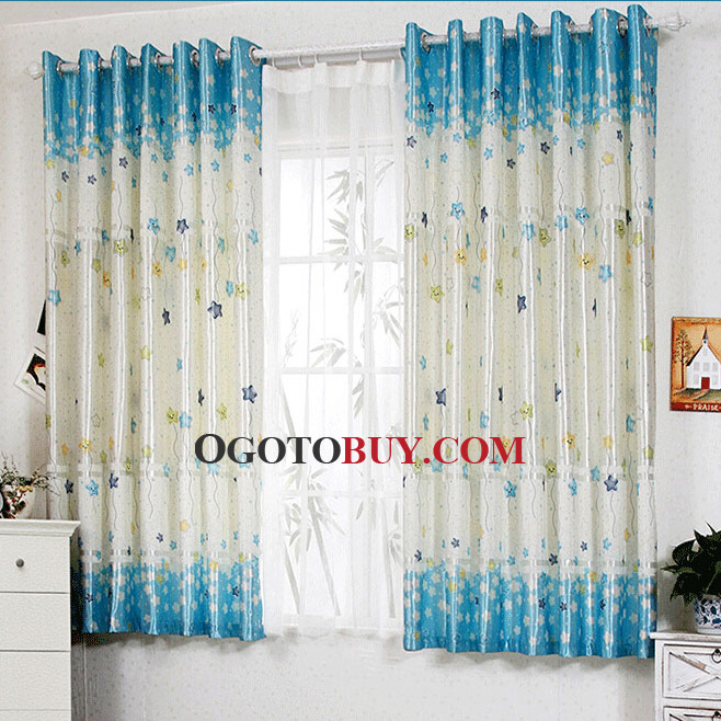 Star Patterns Blue Two Panels Boys Bedroom Curtains, Buy Blue ...