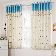 Blue and Beige Colors Curtains As Room Dividers