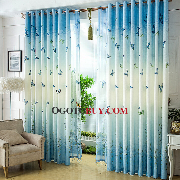 Elite Blue Butterfly Pattern Energy Saving Oriental Curtains