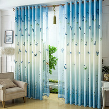 Blue Butterfly Pattern Energy Saving Oriental Curtains