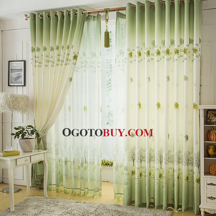 green leaf pattern living room long length of curtains, buy green