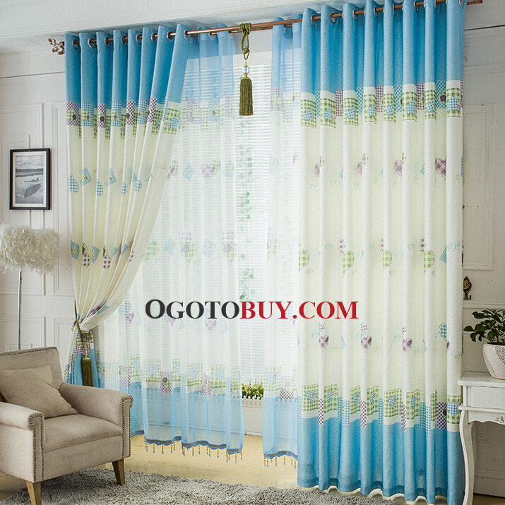 cute blue kids bedroom window curtains and drapes, buy blue print, Bedroom decor