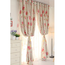 Pink Floral Polyester Pretty Home Made Curtains
