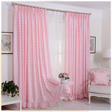 Pink Color Polka Dots Kids Door Curtains for Windows