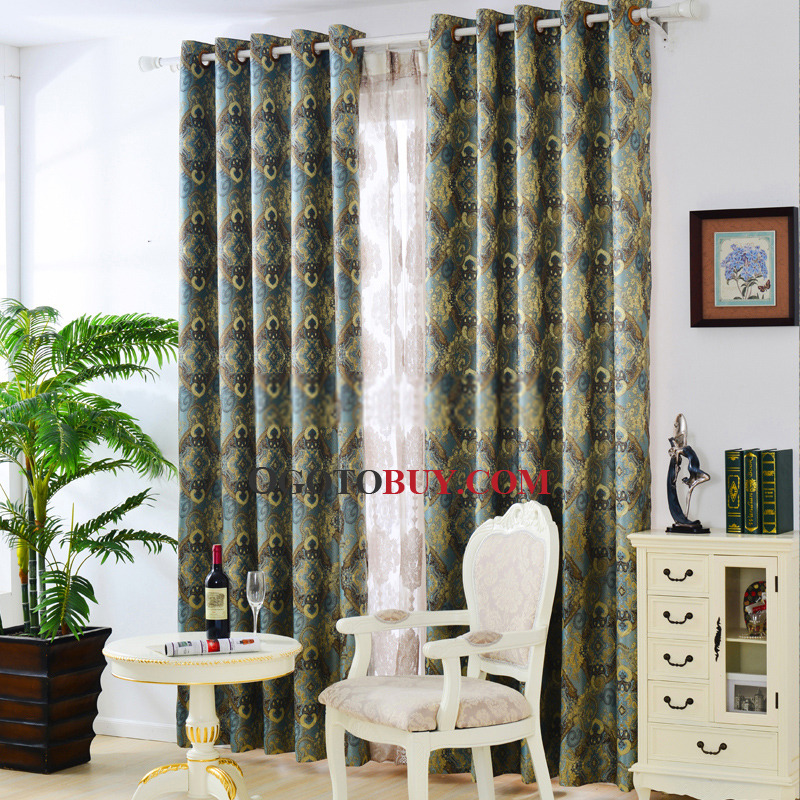 Retro Printed Blackout Curtain for Bedroom, Buy Blue Print ...
