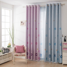 Blue and Pink Unique Matching Style Blackout Curtain For Kids