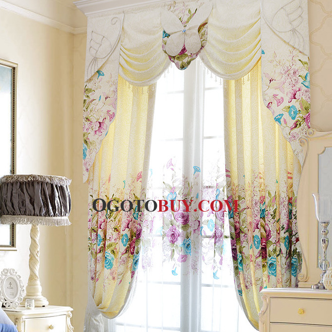 Country and Pastoral Floral Curtain For Girls Room, Buy Beige ...