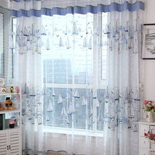 Blue Polyester Nautical Patterned Curtain For Kids Room