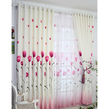 Country Style Curtain with Tulip Floral Patterned and Polyester Blackout Curtain
