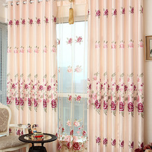 Floral Patterned and Polyester Blackout Curtain For Living Room