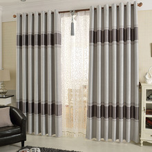 Jacquard Gray Polyester Blackout Curtain For Living Room Or Bedroom