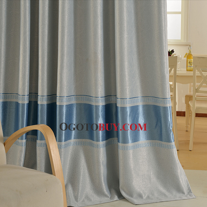 Classic Blue Polyester Blackout Curtain For Living Room