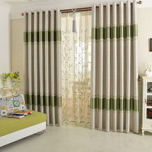 Polyester Green Patterned and Simple Modern Style Blackout Curtain