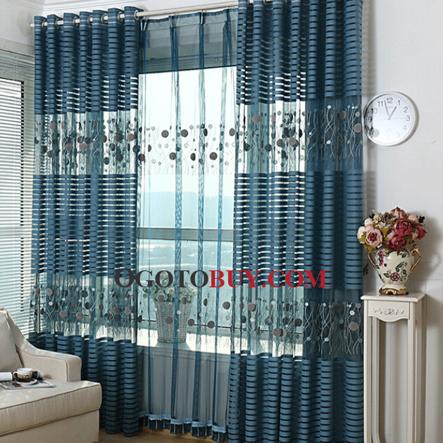 Attractive Loading Zoom. Modern Embossed And Embroidery Sheer Curtain ...