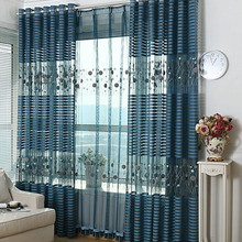 Modern Embossed and Embroidery Sheer Curtain with Striped Pattern