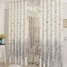 Fresh White Polyester Living Room Curtain With Tree Pattern