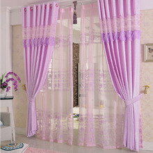 Modern Style Elegant Cotton Blend Purple Curtain For Girls Room