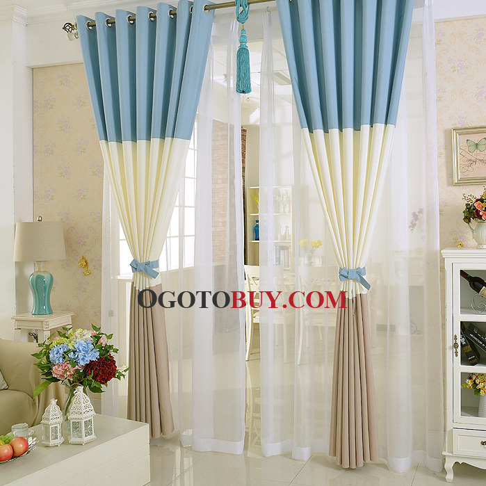 Simple Modern Style Blackout Polyester Blue and White Living Room Curtain