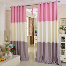 Chic Splice Pink and White Polyester Blackout Curtain For Living Room