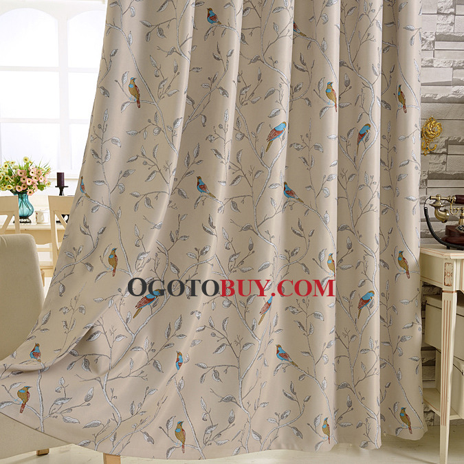 Country Pastoral Thermal Black Out Faux Silk Curtain For Living Room
