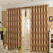 Polyester Wine Color Blackout Curtain For Living Room with Tree Pattern