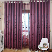 Romantic Embossed and Embroidery Rose Pattern Poly/Cotton Blend Blackout Curtain