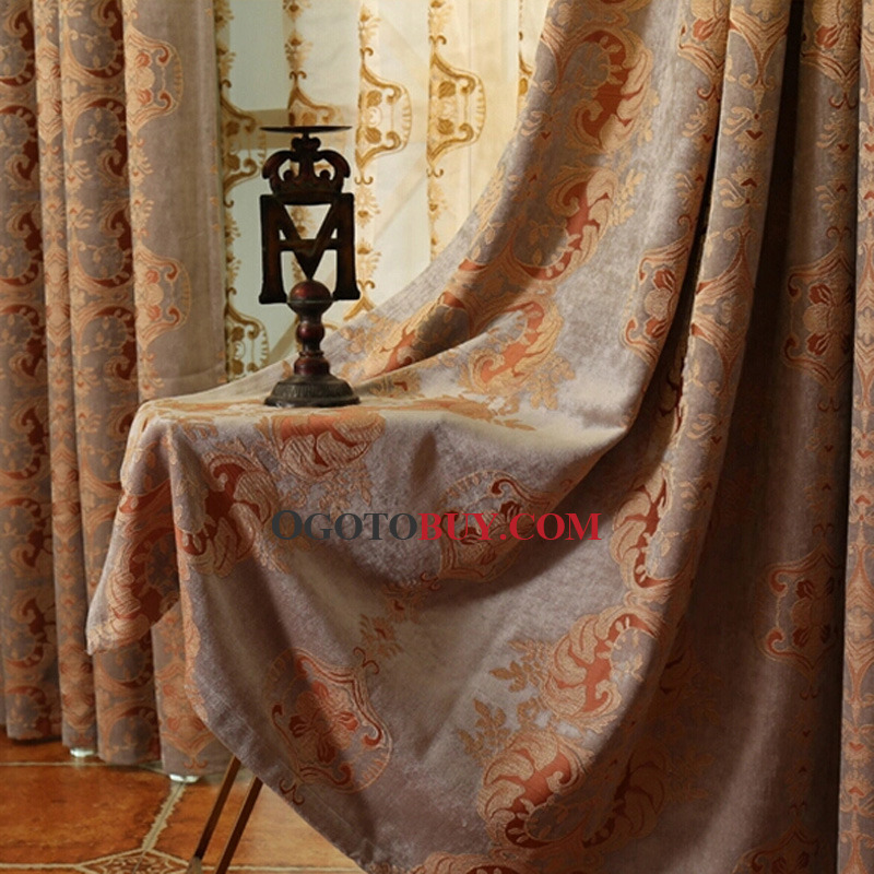 Chenille Jacquard Thick European Style Insulated Blackout Curtain