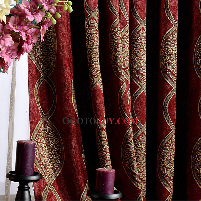Festival Jacquard Red Chenille Fabric Light Insulated and privacy Blackout Curtain