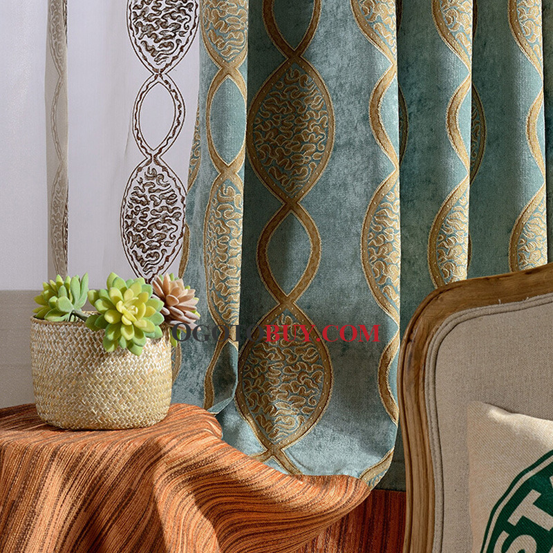 European Style Blackout Curtain Chenille Fabric Insulated Living Room Curtain