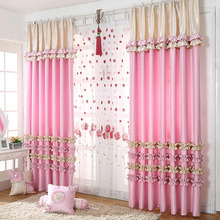 Luscious Princess Pink Polyester Room Darkening Curtain For Girls Room