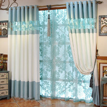 Privacy Blur and Beige Cotton/Linen Blend Curtain For Living Room
