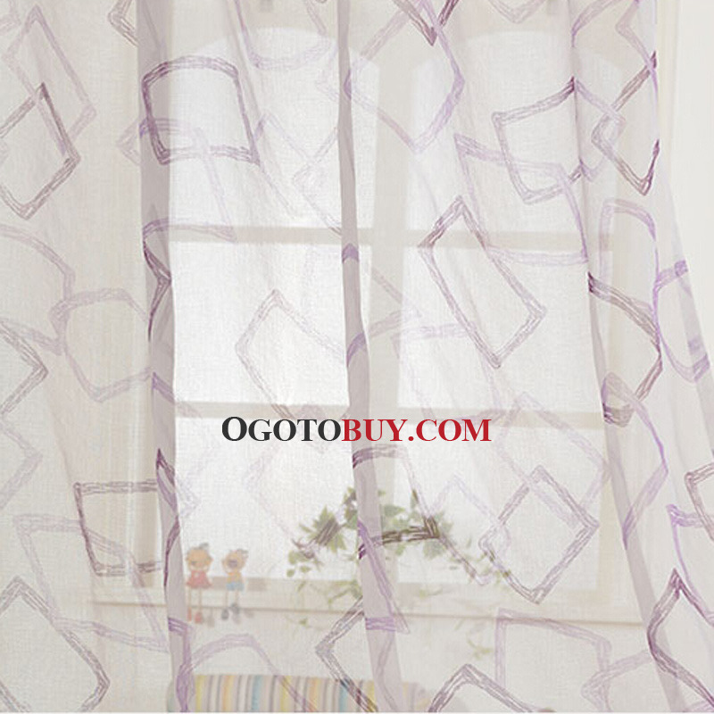 Simple Printed Geometric Pattern Kids Curtain of Room Darkening Curtain