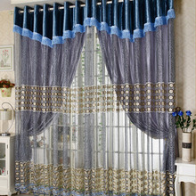 Romantic Victorian Style Luxury Blue Embroidery Blackout Curtain