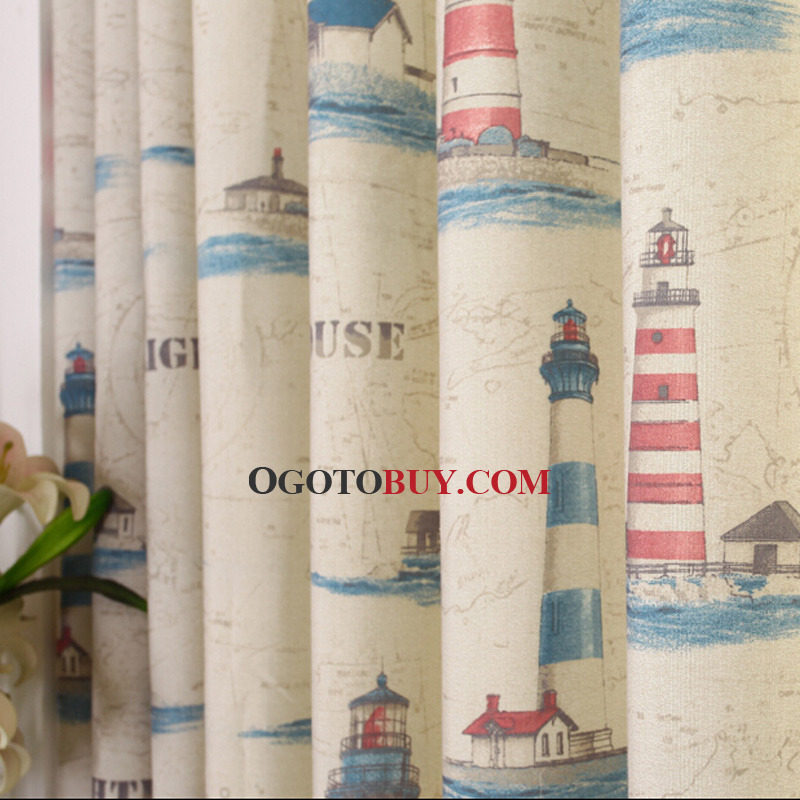 Nautical Style Poly/Cotton Blend Beige Curtains For Kids Bedroom ...